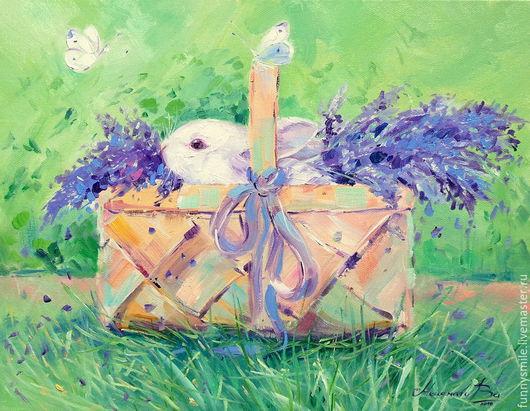 Животные ручной работы. Ярмарка Мастеров - ручная работа. Купить Картина маслом на холсте Кролик в корзинке. Кролик. Лаванда.. Handmade.