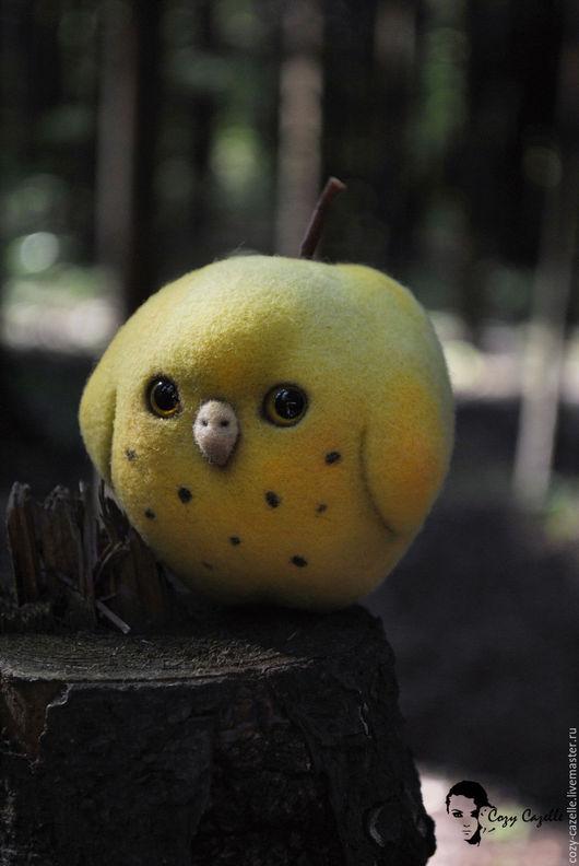 Сказочные персонажи ручной работы. Ярмарка Мастеров - ручная работа. Купить Яблочная сова. Handmade. Желтый, авторская ручная работа