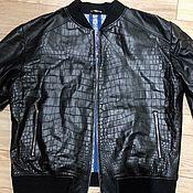 Одежда handmade. Livemaster - original item Men`s bomber jacket, made of crocodile skin and genuine leather, in black.. Handmade.