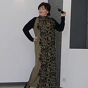 Одежда handmade. Livemaster - original item Dress with black sleeves knitwear visk. bronze with black orn. Art.740. Handmade.