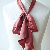 Scarves handmade. Livemaster - original item Satin scarf Bordeaux madder silk. Handmade.