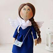Куклы и игрушки ручной работы. Ярмарка Мастеров - ручная работа Ангелок в синем. Текстильная коллекционная кукла.. Handmade.