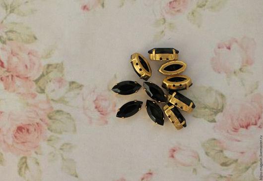 Для украшений ручной работы. Ярмарка Мастеров - ручная работа. Купить Винтажные кристаллы 15х7мм стразы в оправе цвет черный. Handmade.