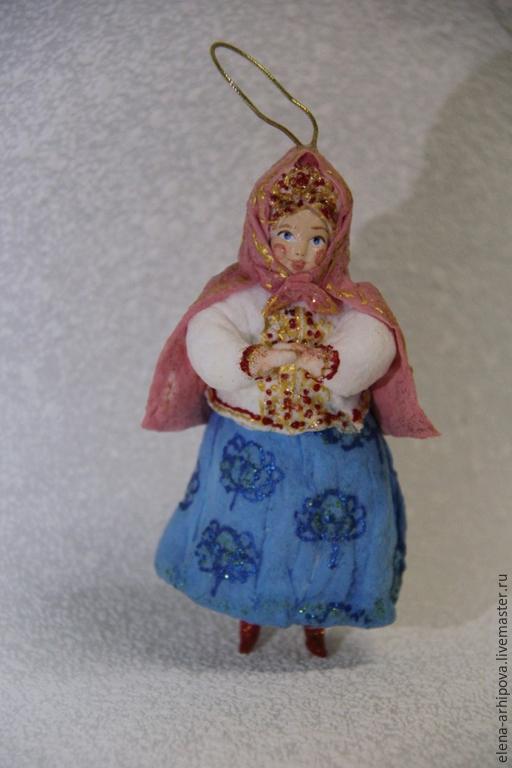 """Человечки ручной работы. Ярмарка Мастеров - ручная работа. Купить Ёлочная игрушка из ваты """"Сказочница"""". Handmade. Разноцветный, сказка, керамика"""