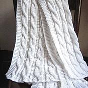 Для дома и интерьера ручной работы. Ярмарка Мастеров - ручная работа Белый хлопковый плед/покрывало спицами. Узор жгуты. Handmade.