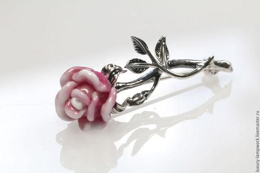 Броши ручной работы. Ярмарка Мастеров - ручная работа. Купить Серебряная Брошь Роза малая - серебро 925, брошь-цветок. Handmade.