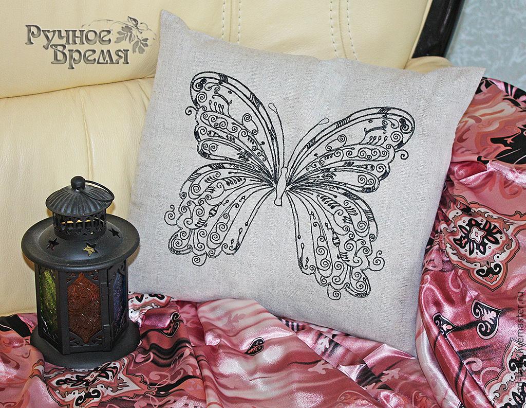 ручной работы. Ярмарка Мастеров - ручная работа. Купить Бабочка. Интерьерная подушка. Handmade. Машинная вышивка, декоративная подушка