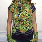 Аксессуары ручной работы. Ярмарка Мастеров - ручная работа комплект шарф + митенки. Handmade.