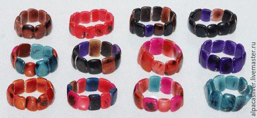 Браслеты ручной работы. Ярмарка Мастеров - ручная работа. Купить Цветные браслеты из ореха эквадорской пальмы тагуа. Handmade. Комбинированный