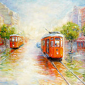 "Картины и панно handmade. Livemaster - original item The original oil painting ""Sunny tram"" oil on canvas, 40x50 cm. Handmade."