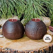 Для дома и интерьера handmade. Livemaster - original item Wooden textured candlesticks made of pine wood-2 pcs. WC22. Handmade.