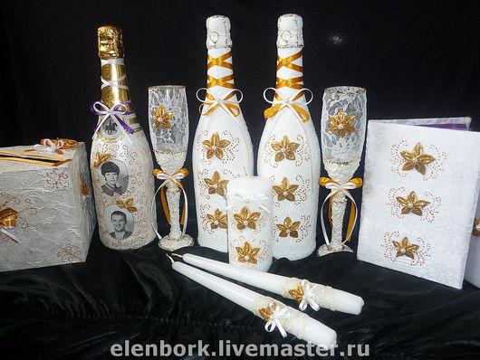 Свадебные аксессуары ручной работы. Ярмарка Мастеров - ручная работа. Купить свадебный набор бело-золотой. Handmade. Свадебные аксессуары