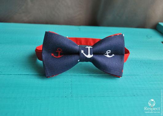 Галстуки, бабочки ручной работы. Ярмарка Мастеров - ручная работа. Купить Галстук бабочка Боцман/ бабочка галстук темно-синяя с крупными якорями. Handmade.