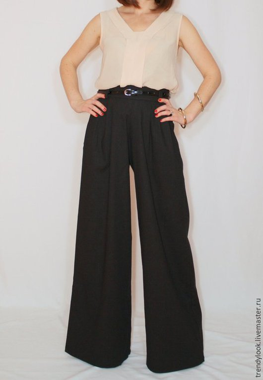 Брюки, шорты ручной работы. Ярмарка Мастеров - ручная работа. Купить Черные льняные брюки Широкие летние штаны. Handmade.