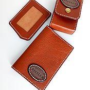 Сумки и аксессуары handmade. Livemaster - original item 3 piece leather set. Red light thread.. Handmade.