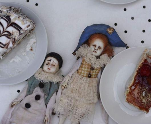 Коллекционные куклы ручной работы. Ярмарка Мастеров - ручная работа. Купить Пьеро и Пьеретта. Handmade. Белый, винтаж, лён