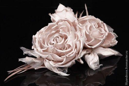 Свадебные украшения ручной работы. Ярмарка Мастеров - ручная работа. Купить Розовые розы-брошь. Handmade. Розы, розы из шелка
