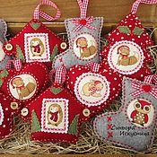 Подарки к праздникам handmade. Livemaster - original item Mini set of 3pcs Christmas decorations out of felt and fabric. Handmade.