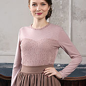 Одежда handmade. Livemaster - original item Lilac lace blouse, spring jacket with lace, fitted. Handmade.