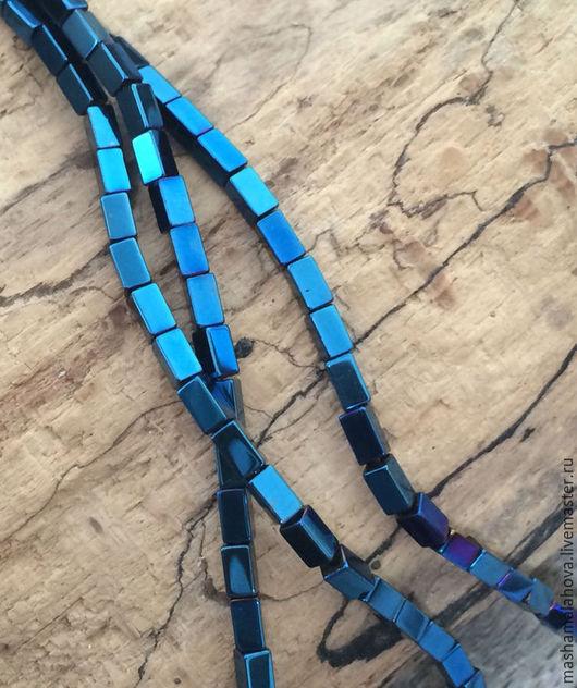 Для украшений ручной работы. Ярмарка Мастеров - ручная работа. Купить Гематит 4х2х2(10шт). Handmade. Синий, бусины прямоугольные, гематит