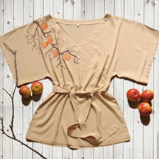 Блузки ручной работы. Ярмарка Мастеров - ручная работа. Купить Блуза - кимоно бежевая с яблоками (яблоко, телесный, V-образный вырез). Handmade.