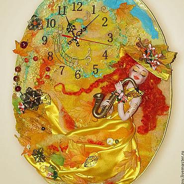 """Для дома и интерьера ручной работы. Ярмарка Мастеров - ручная работа Часы настенные """"Девушка Осень"""". Handmade."""