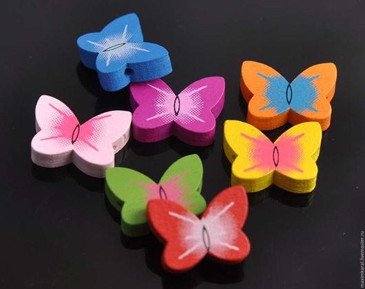 Куклы и игрушки ручной работы. Ярмарка Мастеров - ручная работа. Купить Скидка 10% Бусины деревянные детские Бабочки. Handmade.