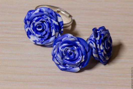 """Комплекты украшений ручной работы. Ярмарка Мастеров - ручная работа. Купить Комплект """"Синие розы"""". Handmade. Синий, пластика, серьги"""