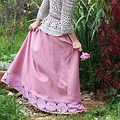 Одежда handmade. Livemaster - original item Linen skirt with lace