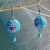 Украшения handmade. Livemaster - original item Earrings Floral pattern with turquoise. Handmade.
