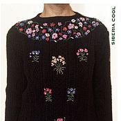 Одежда handmade. Livemaster - original item Sweater women`s garden, embroidery, flowers, 100% wool. Handmade.