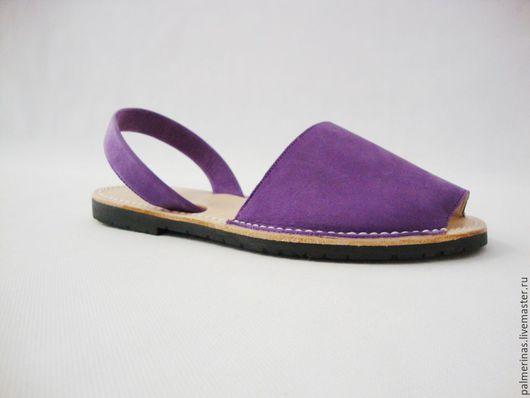 Обувь ручной работы. Ярмарка Мастеров - ручная работа. Купить Сандалии Фуксия из кожи нубук. Handmade. Фиолетовый, сандалии из испании