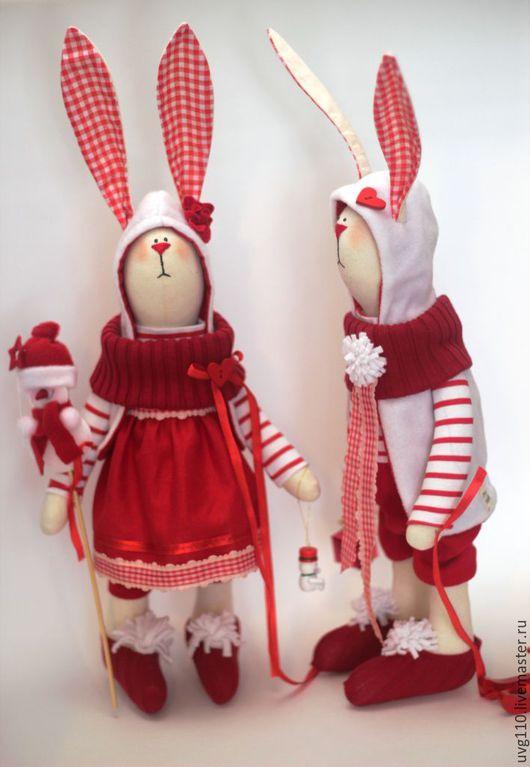 Игрушки животные, ручной работы. Ярмарка Мастеров - ручная работа. Купить Новогодние зайцы. Handmade. Ярко-красный, Заяц в подарок