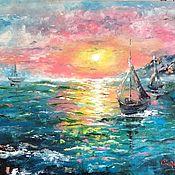 Картины и панно handmade. Livemaster - original item Oil painting / hardboard sea sunset. Handmade.
