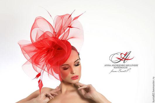 Свадебные и вечерние аксессуары ручной работы. Красная шляпка для скачек `Lady Rouge`. Анна Андриенко. Ярмарка Мастеров