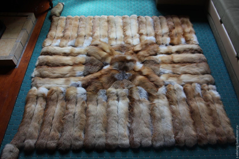 Быт ручной работы. Ярмарка Мастеров - ручная работа. Купить Меховой плед из лисьих щкурок, подушки в комплекте. Handmade.