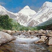 Материалы для творчества ручной работы. Ярмарка Мастеров - ручная работа Схема вышивки ``Река и горы``. Handmade.