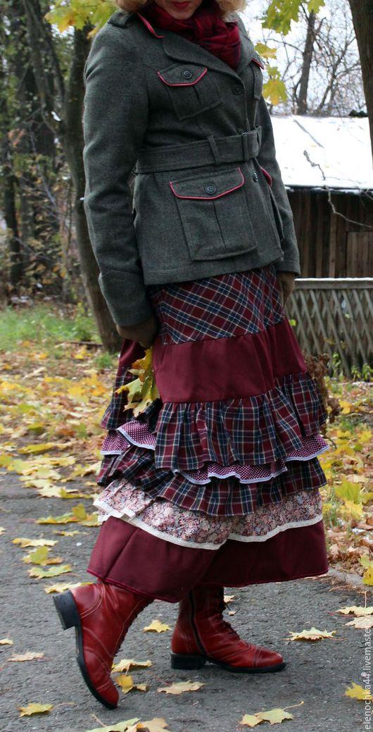 """Юбки ручной работы. Ярмарка Мастеров - ручная работа. Купить Длинная бохо юбка """"Бордо"""". Handmade. Бордовый, юбка на зиму"""