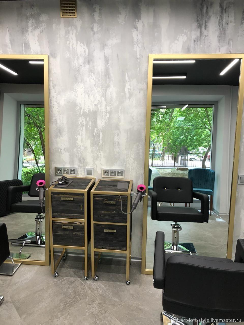 Зеркала и тумбы от нашей Творческой мастерской. Зеркало в стальном обрамлении, тумба на металлическом каркасе и массив. Производим мебель в стиле лофт для салонов красоты.