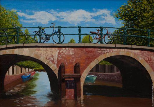 Город ручной работы. Ярмарка Мастеров - ручная работа. Купить Принт. Мост в Амстердаме. Handmade. Амстердам, европа, принт