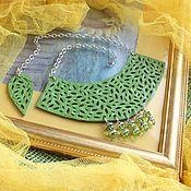 Украшения handmade. Livemaster - original item Leather necklace First leaves. Handmade.