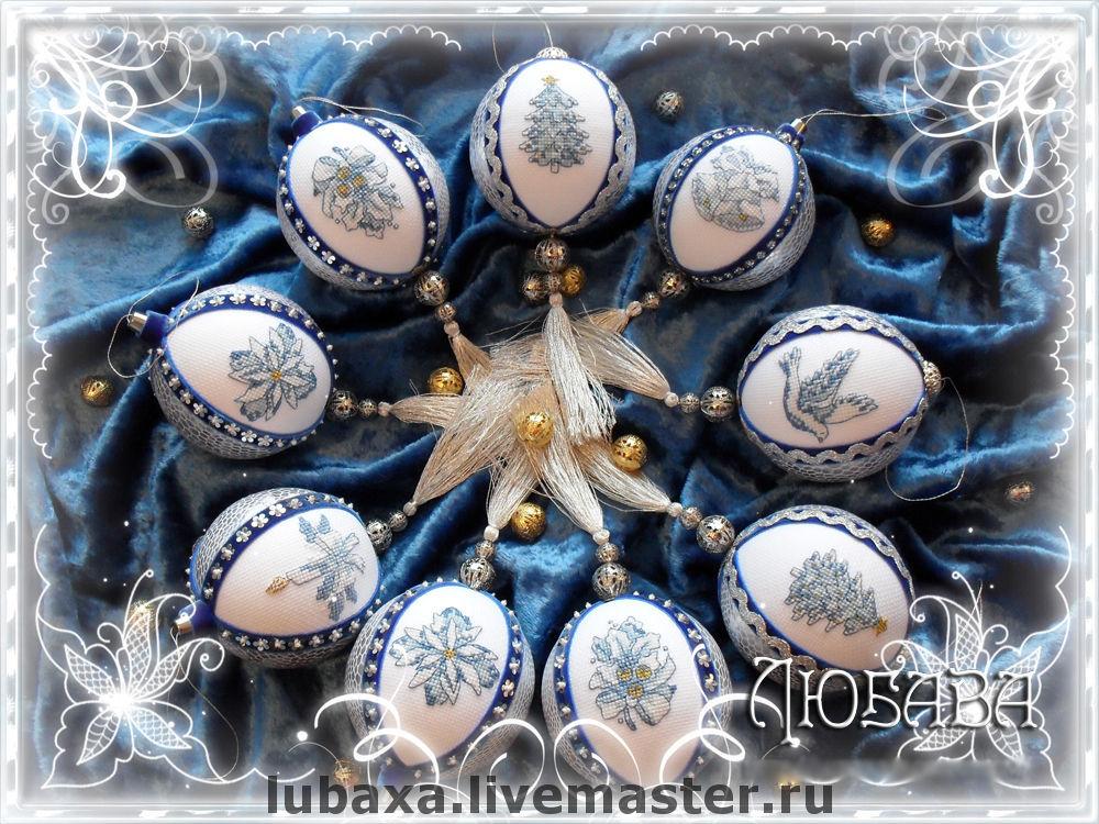 Christmas balls with embroidery, Christmas decorations, Vyborg,  Фото №1