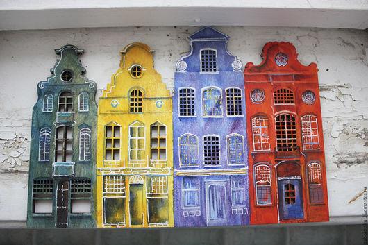 Город ручной работы. Ярмарка Мастеров - ручная работа. Купить Панно Бельгийские домики. Handmade. Комбинированный, панно на стену