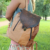 Сумки и аксессуары handmade. Livemaster - original item Backpack made of genuine leather, this boho
