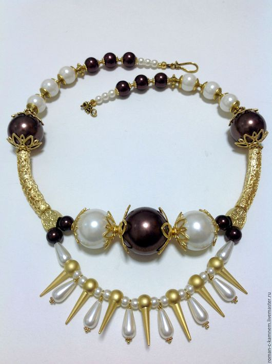 Комплект украшений из искусственного жемчуга в этническом, восточном стиле Благородный шоколад. Оригинальный, роскошный подарок для стильных, неординарных женщин и девушек.