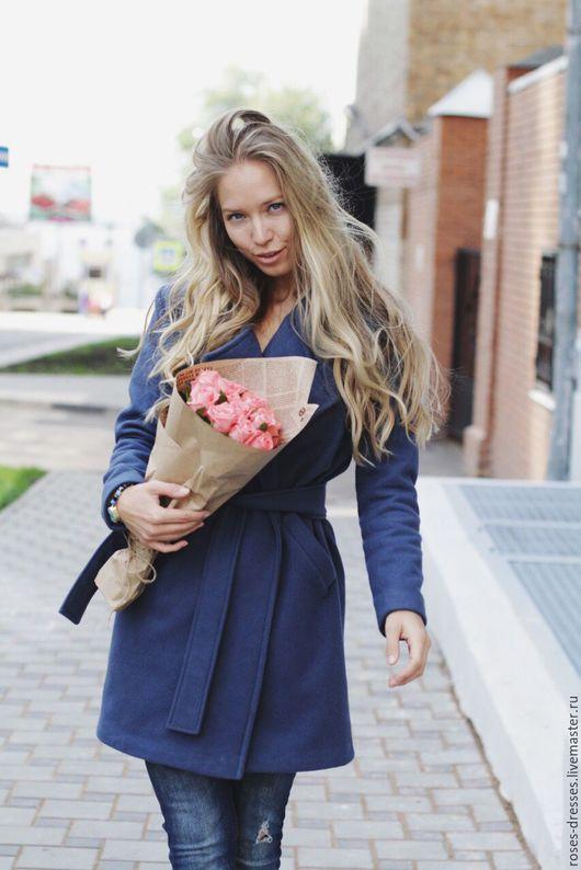 Верхняя одежда ручной работы. Ярмарка Мастеров - ручная работа. Купить Пальто ( blueberry color). Handmade. Синий