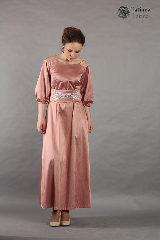 Платья ручной работы. Ярмарка Мастеров - ручная работа. Купить Нарядное розовое платье в пол с кружевами. Handmade. Платье
