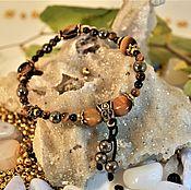 Украшения handmade. Livemaster - original item Bracelet-amulet of tiger`s eye, black tourmaline, pyrite. Handmade.