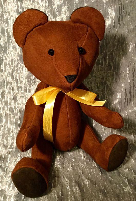 Игрушки животные, ручной работы. Ярмарка Мастеров - ручная работа. Купить Медвежонок коричневый из натуральной замши. Handmade. мишка коричневый