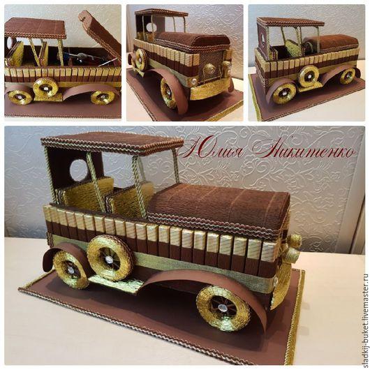 """Букеты ручной работы. Ярмарка Мастеров - ручная работа. Купить Композиция из конфет. """"Ретро автомобиль"""" - подарок для мужчины. Handmade."""
